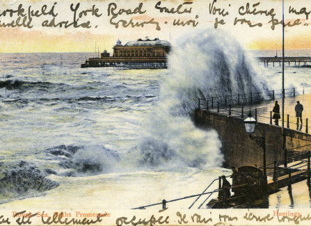 Hand-tinted Edwardian rough sea post card