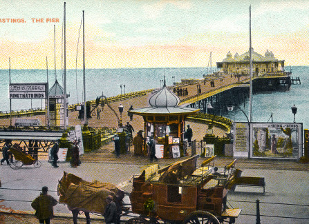 Hand-tinted postcard of the Pier with waiting coach and horses