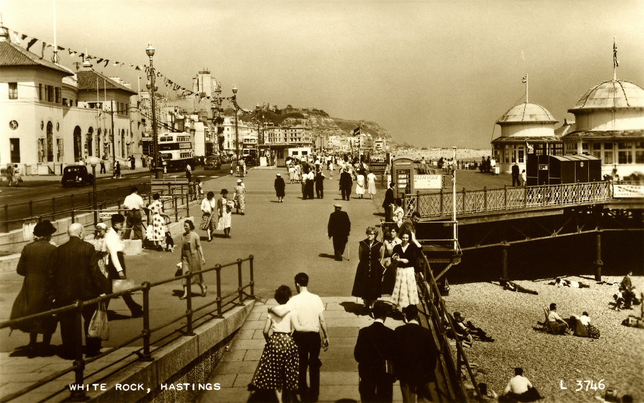 Sepia postcard of White Rock with Pier on the right