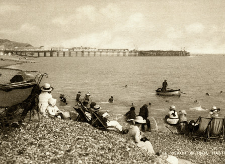 On the beach after the 1917 Pier fire