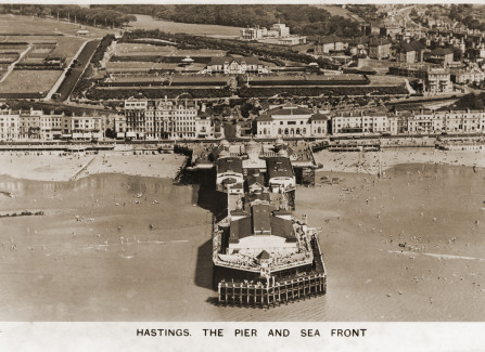 Aerial view of Hastings Pier, 1936