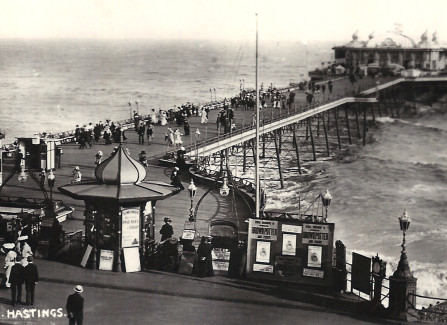 Promenading on the Edwardian Pier on a windy day
