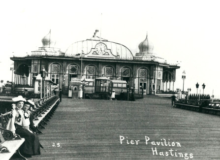 Two Victorian ladies in front of the Pier pavilion
