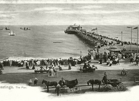 Victorian hand-tinted postcard of the Pier