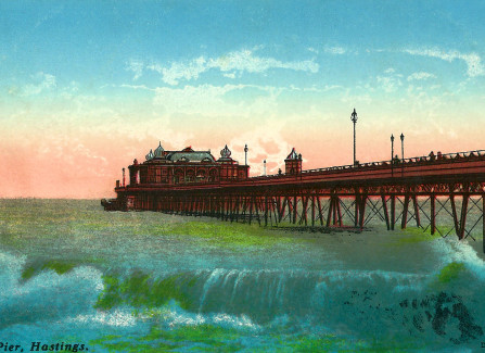 Hand-coloured view of the Pier from the east beach