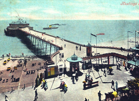 Hand-tinted Edwardian post card of Hastings Pier