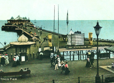 Hand-tinted postcard of the Edwardian Pier