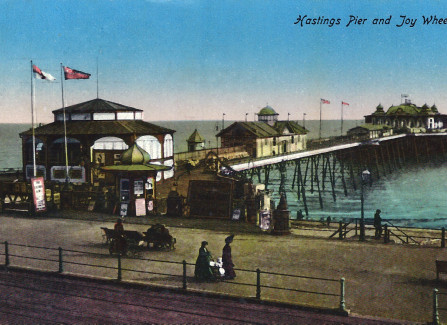 Hand-tinted post card of Pier with Joy Wheel