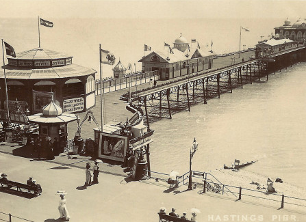 Pre-WW1 postcard of the Pier with the Joy Wheel