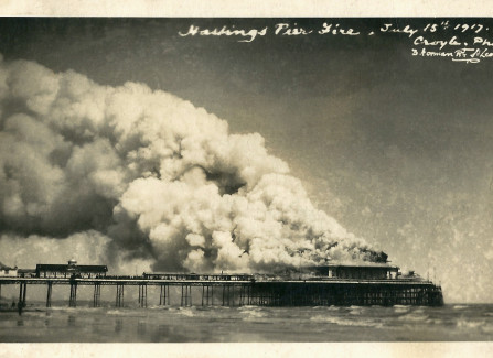 The Pier pavilion on fire, 1917