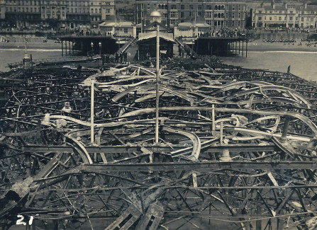 Aerial view of girders left after 1917 Pier fire
