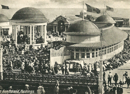 The bandstand after the 1917 fire, with no pavilion
