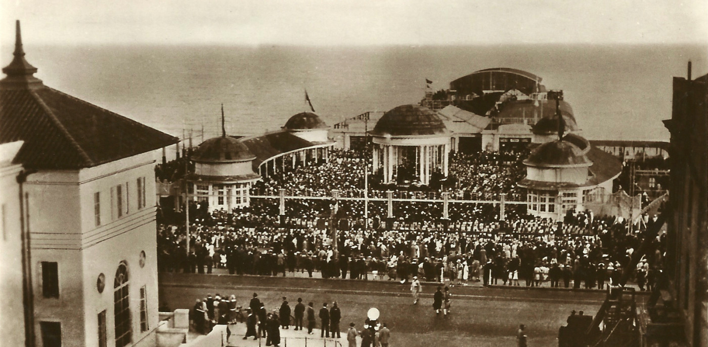 A packed bandstand in the 1920s