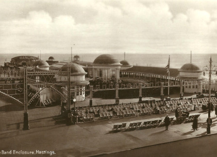 Hastings Pier bandstand, ready for a performance