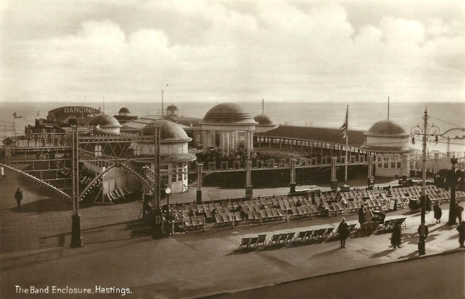 The Pier bandstand with deckchairs ready for a performance