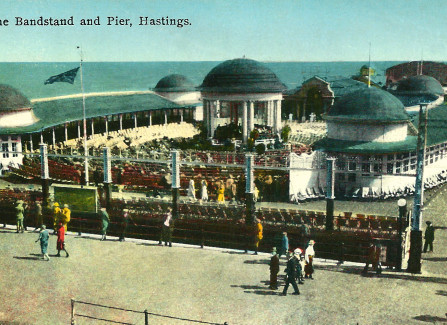 Hand-tinted postcard of the bandstand