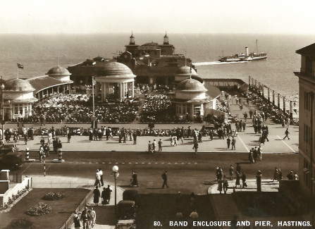 A busy bandstand, 1930s