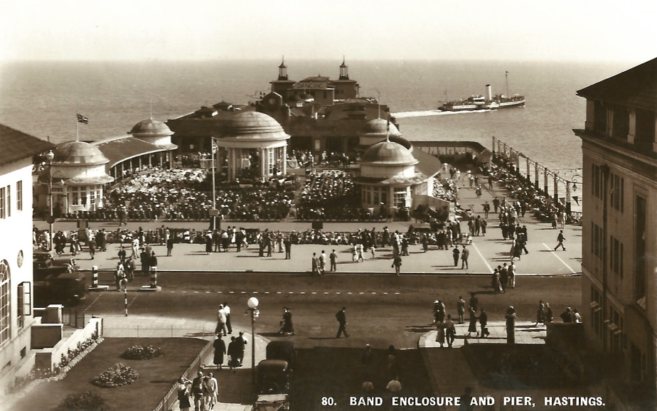 A postcard of the bandstand taken from White Rock
