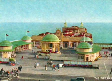 Hand-tinted postcard of the Pier, 1950s