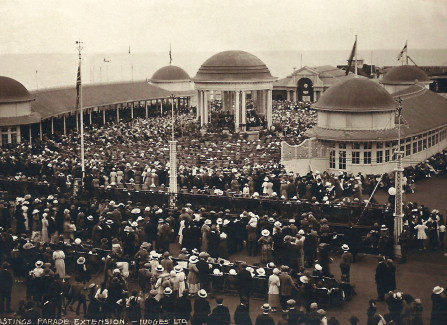 A packed bandstand during WWI