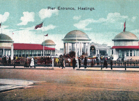 Hand-tinted post card of the Pier entrance, 1920s