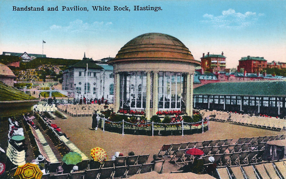 A close up of bandstand, hand tinted