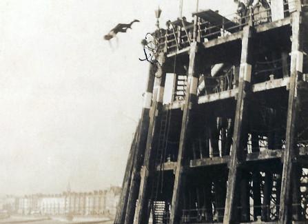 Postcard signed by Professor Davenport, stunt diver