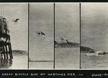 Professor Davenport's  great bicycle dive, 1904-1914