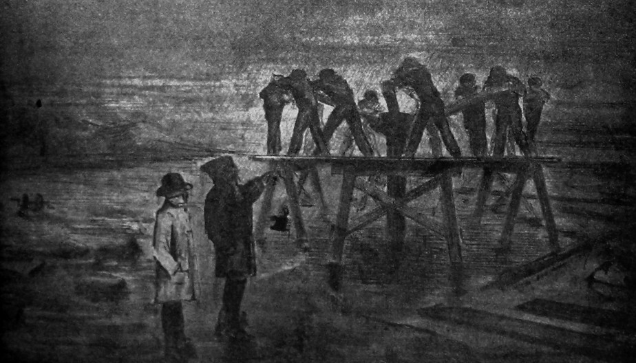 19th century drawing of Pier pile drivers