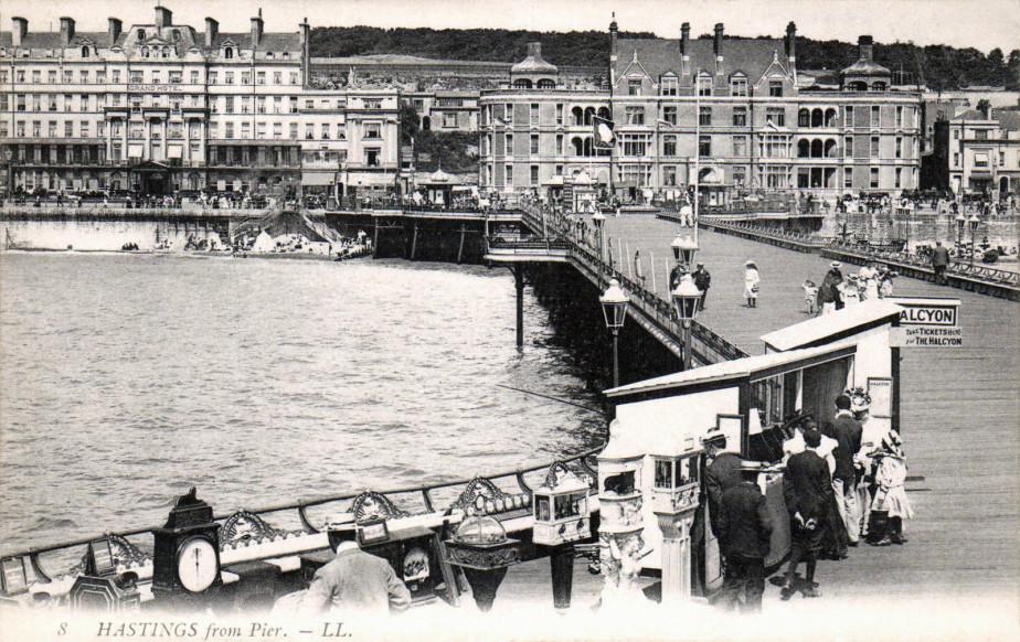 Edwardian postcard of slot machines on the Pier