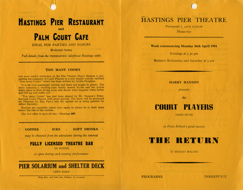 Printed Programme of performance of The Return on 26 April 1954