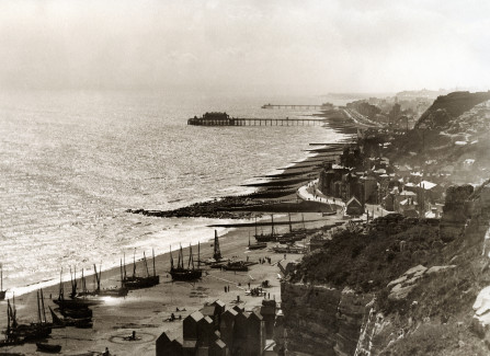 Hastings and St Leonards Piers from the East Hill, 1896