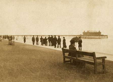 Victorian promenaders walking to the Pier
