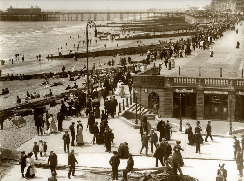 Victorian postcard of the Pier from the Queens Hotel, with Electric lighting