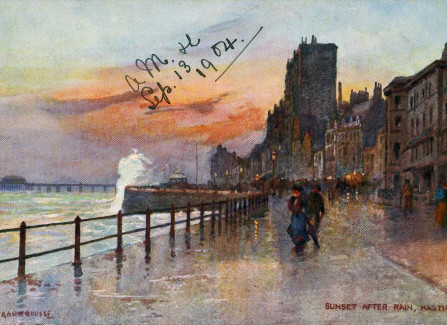 'Sunset after rain' Oilette card of Hastings Pier