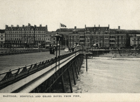 View of East Sussex Hospital from the end of the Pier