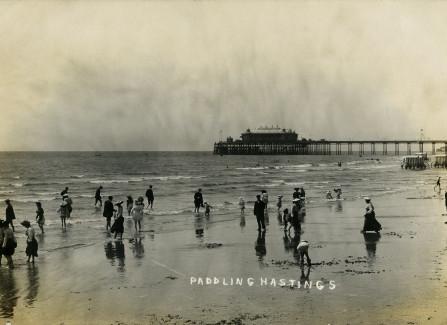 Paddling on Hastings beach, 1905