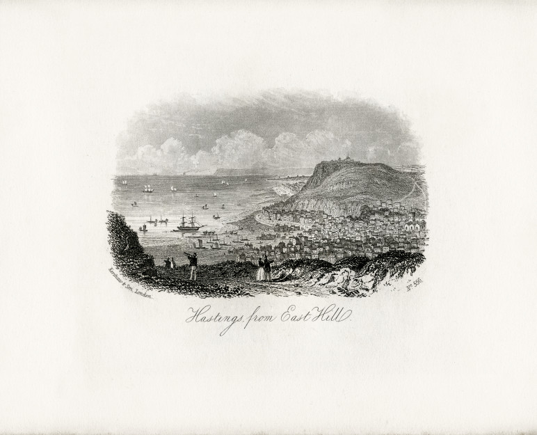 An engraving with a view from East Hill