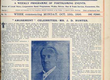 1896 Article about J D Hunter, Pier Entertainments Manager