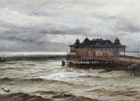 Painting of Hastings Pier by W H Borrow, 1887