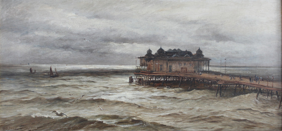 An oil painting of Hastings Pier by W H Borrow, 1887.