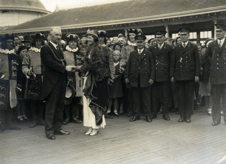 Carnival Queen on the Pier with the Mayor, 1930s.