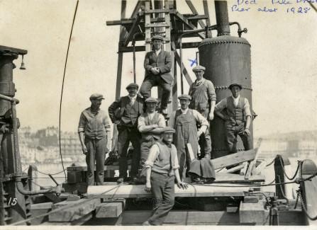 Pile drivers on Hastings Pier, 1928