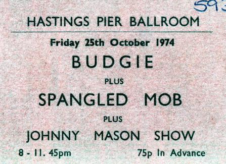 Gig tickets, Hastings Pier Ballroom, 1974