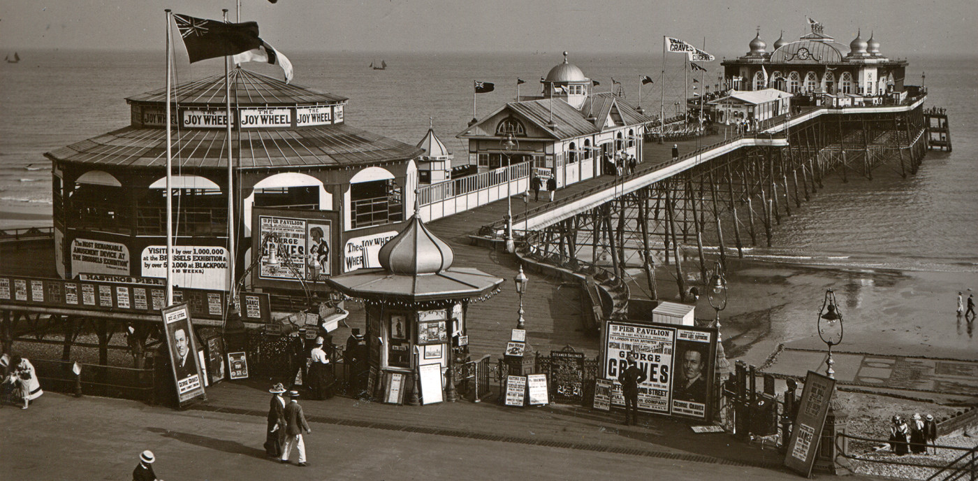 1911. Pier with Joy Wheel and shooting gallery