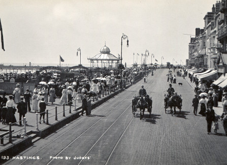 Hastings seafront with baths, bandstand and Pier, 1905-1914