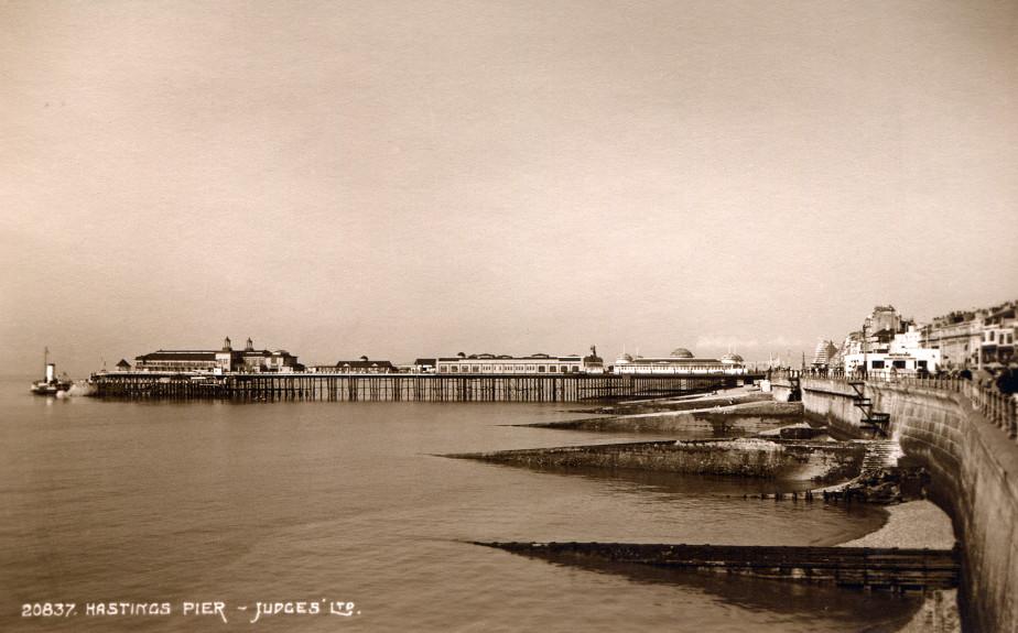 Judges postcard  - Pier with a steamer