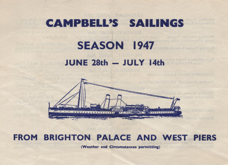 Campbell's paddlesteamer timetable, 1947