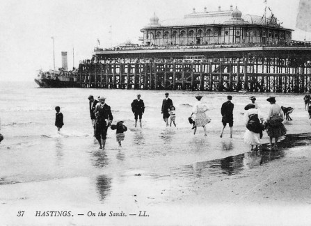 Paddling in front of the Victorian pavilion