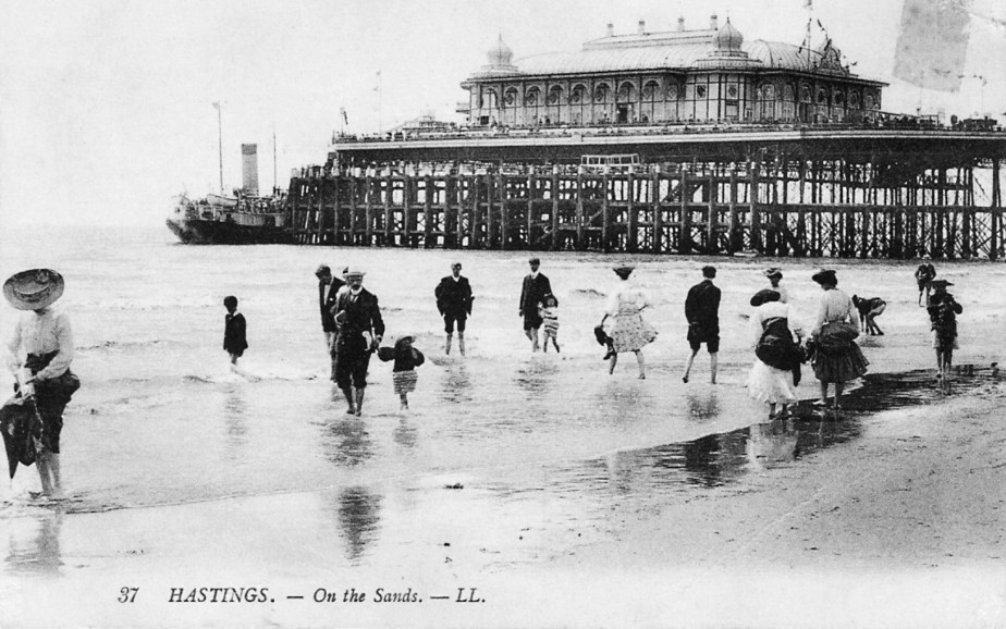Postcard of Pier, with Pavilion, from beach level